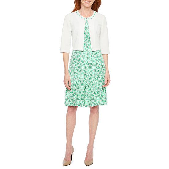 Perceptions 3/4 Sleeve Puff Print Jacket Dress