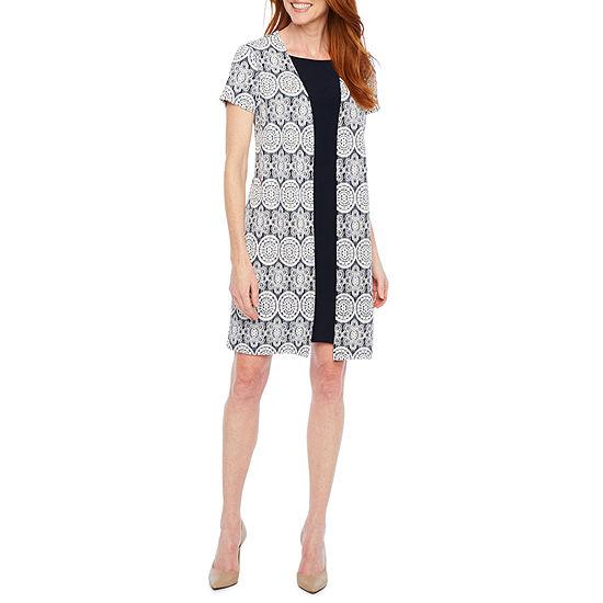 Perceptions Short Sleeve Puff Print Faux Jacket Dress