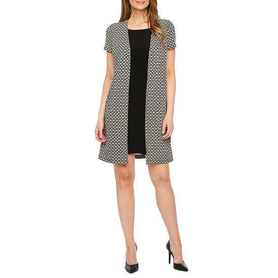 Perceptions Short Sleeve Puff Print Faux Jacket Dress