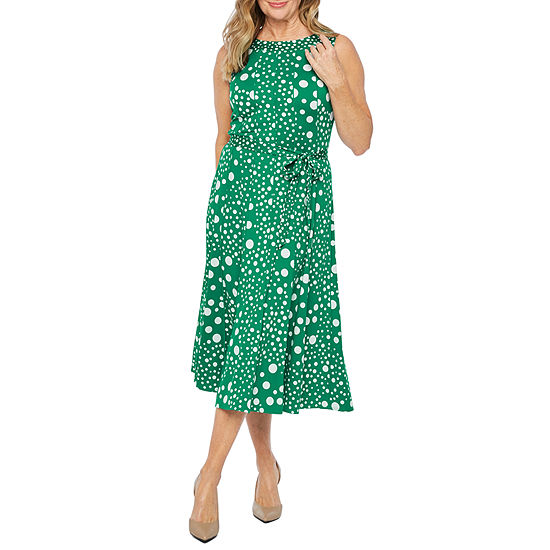 Perceptions Sleeveless Dots Fit Flare Dress