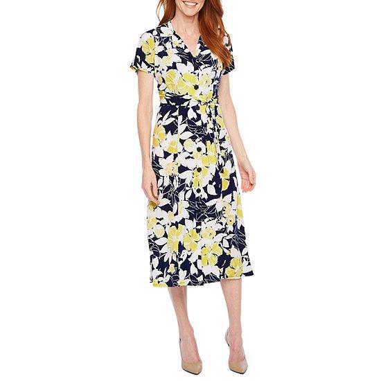 Perceptions Short Sleeve Floral Shirt Dress