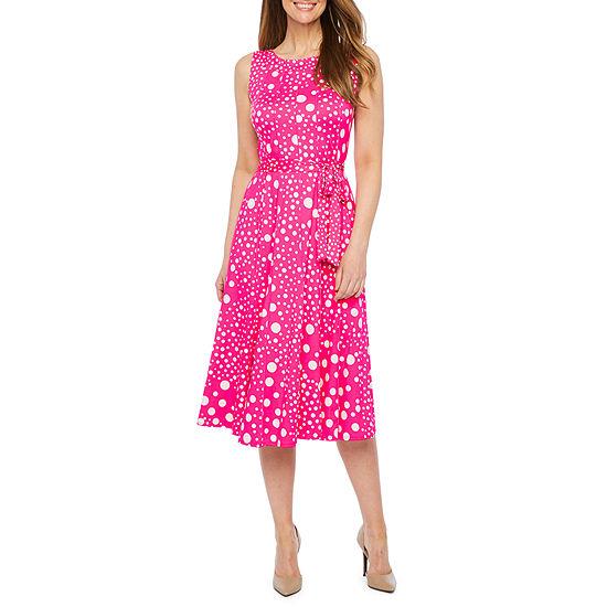 Perceptions Sleeveless Dots Midi Fit Amp Flare Dress