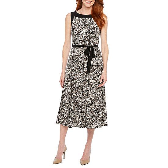 Perceptions Sleeveless Paisley Midi Fit & Flare Dress