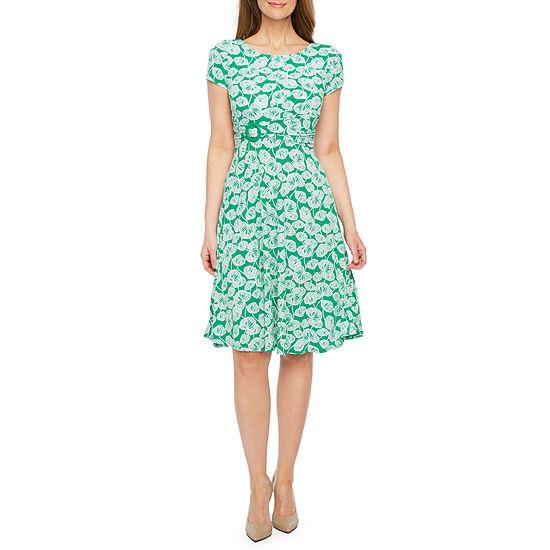 Perceptions Short Sleeve Leaf Puff Print Fit Flare Dress