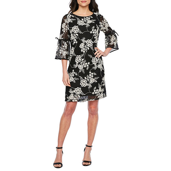 Studio 1 3/4 Tie Sleeve Floral Lace Shift Dress