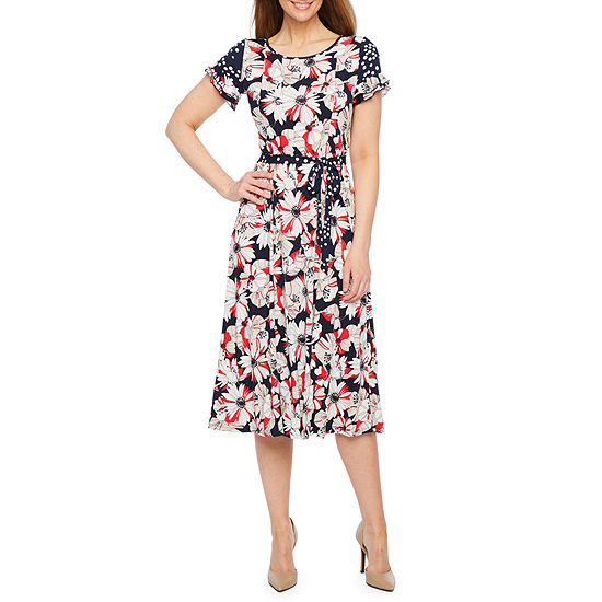 Perceptions Short Sleeve Floral Dot Fit & Flare Dress