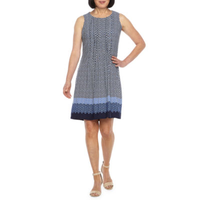 Perceptions Sleeveless Bordered Puff Print Shift Dress