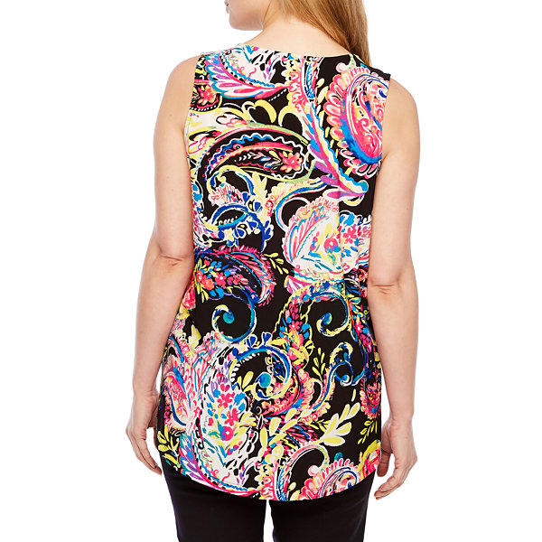 Black Label by Evan-Picone Womens Split Crew Neck Sleeveless Blouse