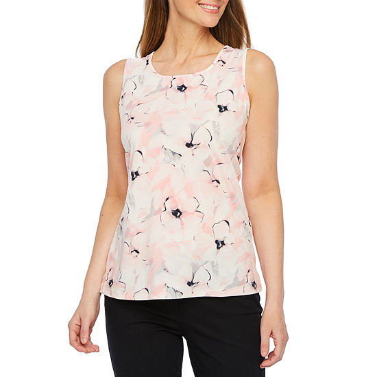 Black Label By Evan Picone Womens Scoop Neck Sleeveless Blouse