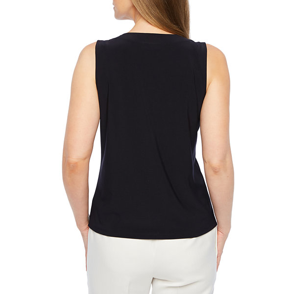 Black Label by Evan-Picone Womens Crew Neck Sleeveless Blouse