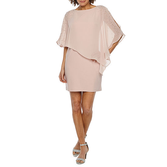 DJ Jaz 3/4 Sleeve Beaded Cape Sheath Dress