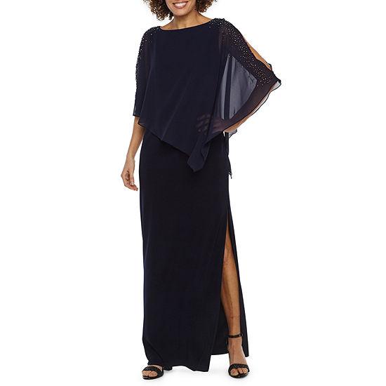 DJ Jaz 3/4 Sleeve Beaded Cape Evening Gown