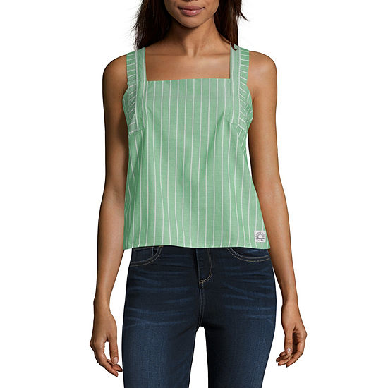 U.S. Polo Assn. Womens Square Neck Sleeveless Poplin Blouse-Juniors