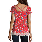 Rewind Womens V Neck Short Sleeve Knit Blouse-Juniors