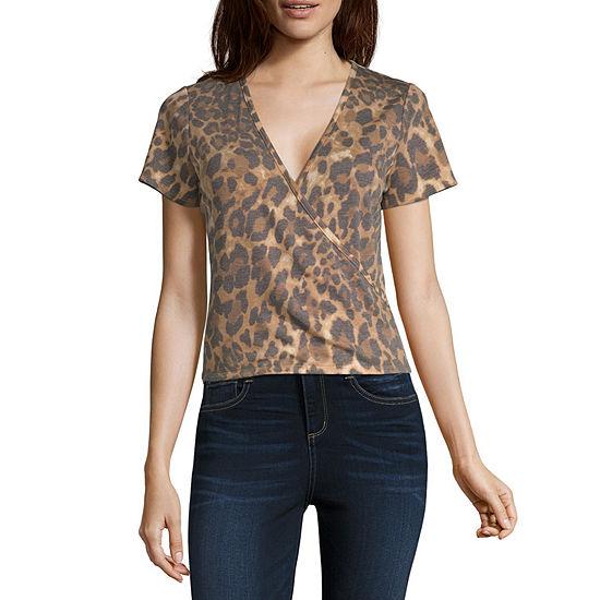 Cut And Paste Womens V Neck Short Sleeve Wrap Shirt Juniors