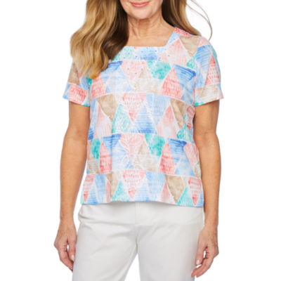 Alfred Dunner Le Jardin-Womens Square Neck Short Sleeve T-Shirt Petite