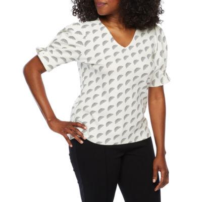 Worthington Womens V Neck Elbow Sleeve Knit Blouse-Petite