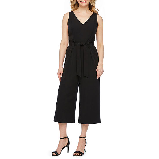 Worthington Sleeveless Belted Jumpsuit-Petite