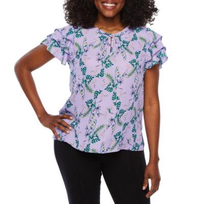 Liz Claiborne Womens Split Crew Neck Short Sleeve Blouse