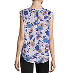 Liz Claiborne Cap Sleeve Split Neck Blouse