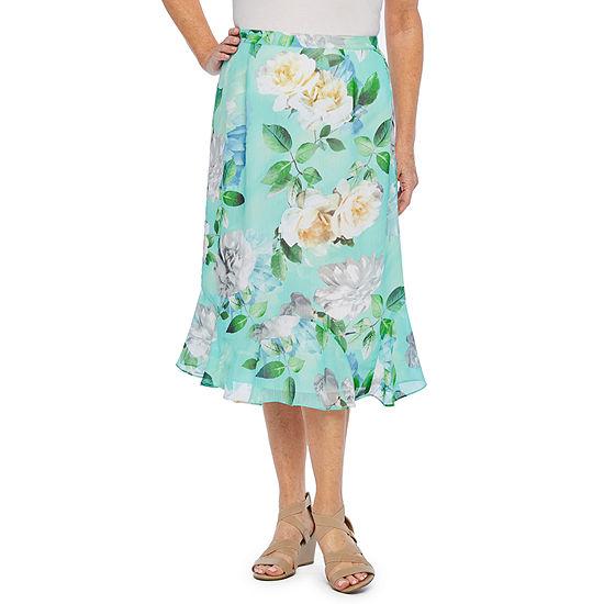 Alfred Dunner Womens Midi Flared Skirt