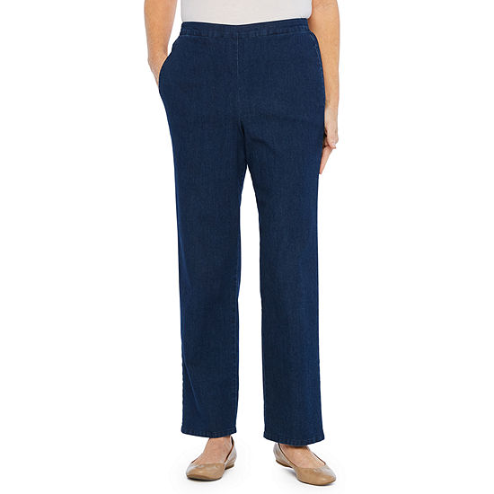 Alfred Dunner Womens High Waisted Straight Pull On Pants