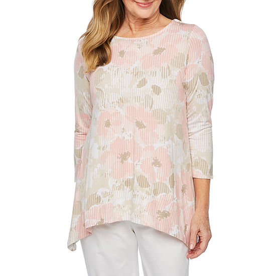 Lark Lane Must Haves Ii Womens Round Neck 3 4 Sleeve Tunic Top