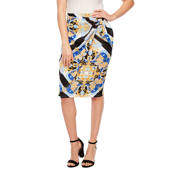 Bold Elements Womens Mid Rise Midi Pencil Skirt