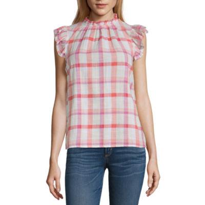 a.n.a Womens High Neck Short Sleeve Blouse