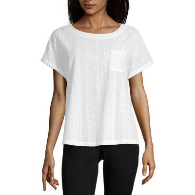 Liz Claiborne Ibiza Waves-Womens Crew Neck Short Sleeve T-Shirt