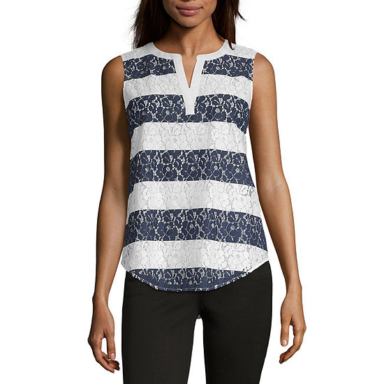 Liz Claiborne Ibiza Waves Womens Split Crew Neck Sleeveless Tank Top