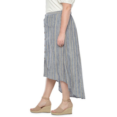 a.n.a Womens Button Front Skirt - Plus