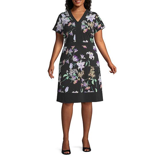 Liz Claiborne Cap Sleeve Mixed Media Dress - Plus