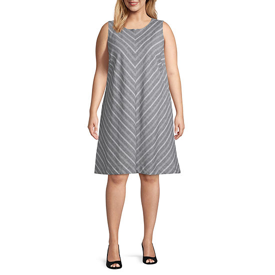 Liz Claiborne A Line Linen Dress - Plus