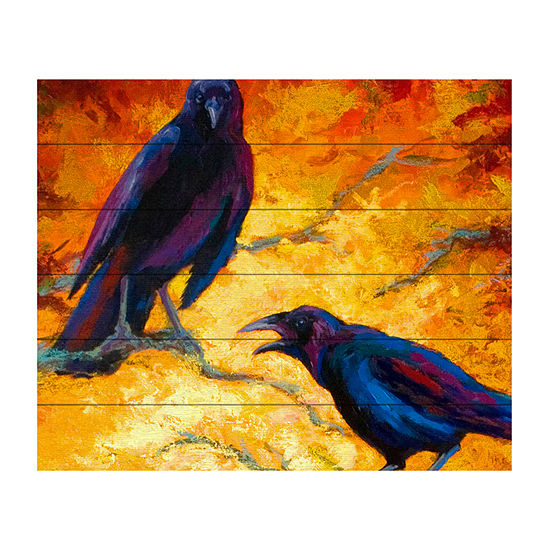 Trademark Fine Art Marion Rose 'Crows 9' Wood Wall Sign