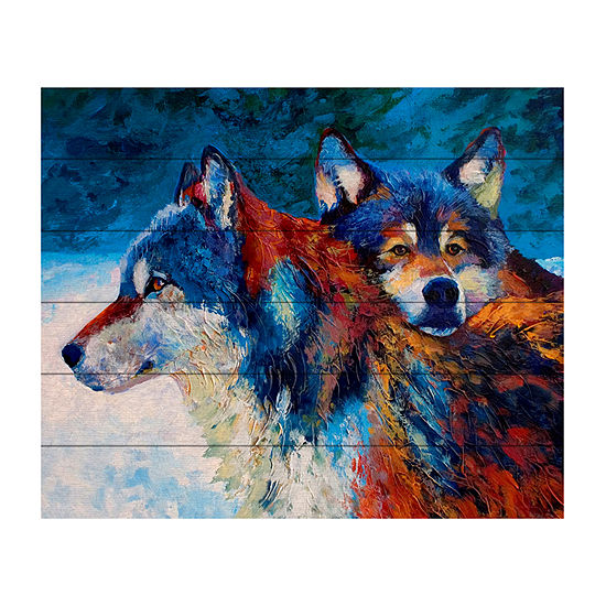 Trademark Fine Art Marion Rose 'Wolves' Wood Wall Sign