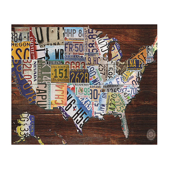 Trademark Fine Art Masters Fine Art 'Usa License Plate Map On Wood' Wood Wall Sign