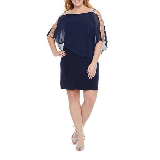 MSK-Plus 3/4 Sleeve Embellished Cape Sheath Dress