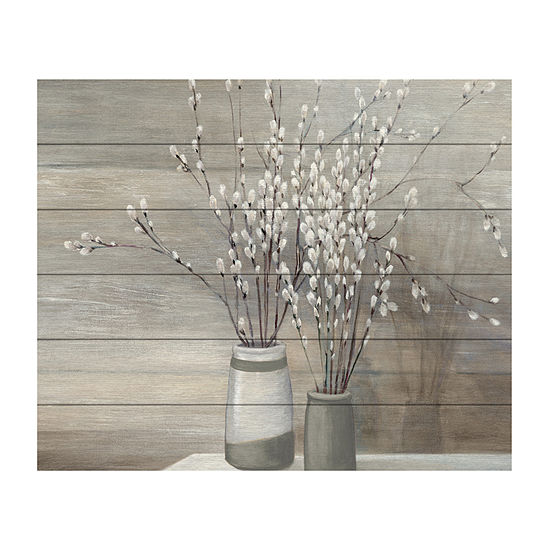 Trademark Fine Art Julia Purinton 'Pussy Willow Still Life Gray Pots' Wood Wall Sign
