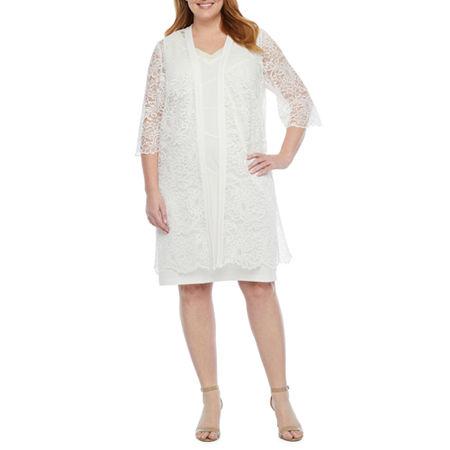 60s Wedding Dresses | 70s Wedding Dresses Maya Brooke-Plus 34 Sleeve Embellished Lace Jacket Dress 14w  White $60.49 AT vintagedancer.com