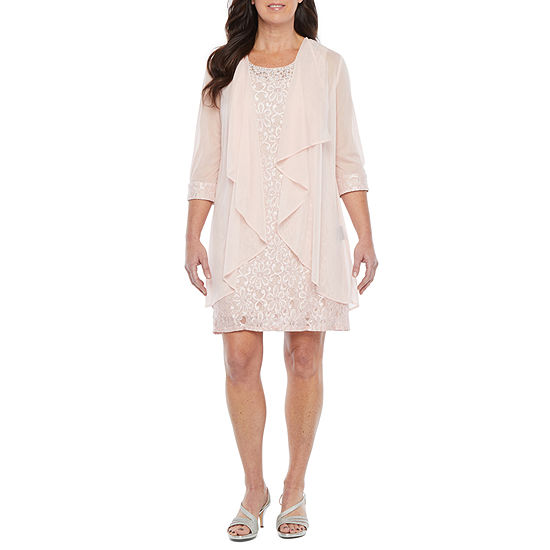 R & M Richards-Petite 3/4 Sleeve Embellished Jacket Dress