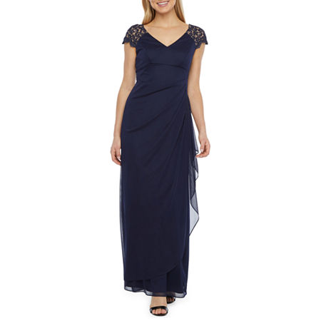 1940s Plus Size Fashion: Style Advice from 1940s to Today DJ Jaz Short Sleeve Evening Gown 16  Blue $35.99 AT vintagedancer.com