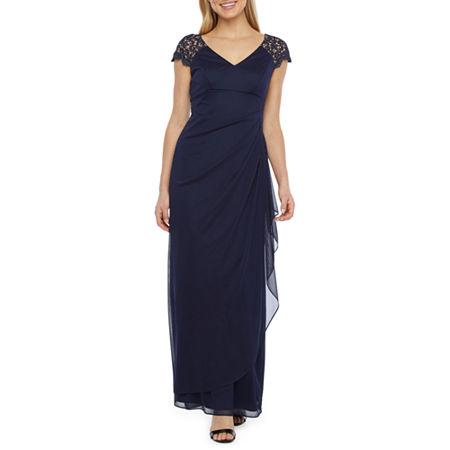 1940s Evening, Prom, Party, Formal, Ball Gowns DJ Jaz Short Sleeve Evening Gown 16  Blue $35.99 AT vintagedancer.com