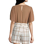 Worthington Womens Pleat Sleeve Crew Top - Tall