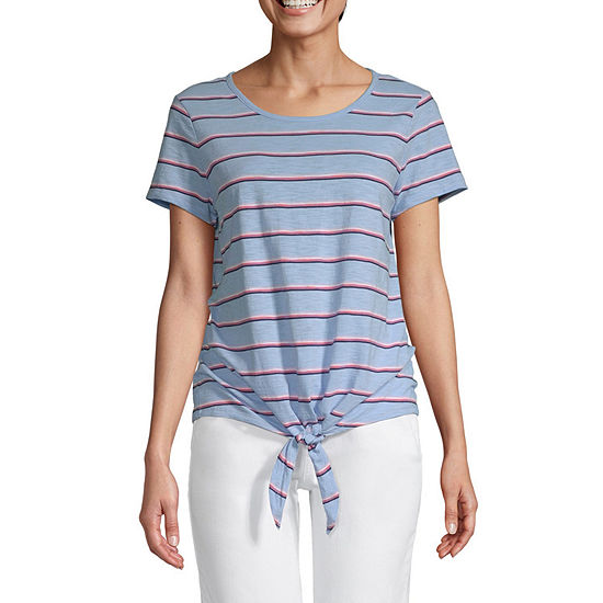St. John's Bay Tall-Womens Round Neck Short Sleeve T-Shirt