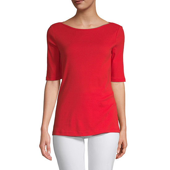 St. John's Bay Tall-Womens Boat Neck Elbow Sleeve T-Shirt