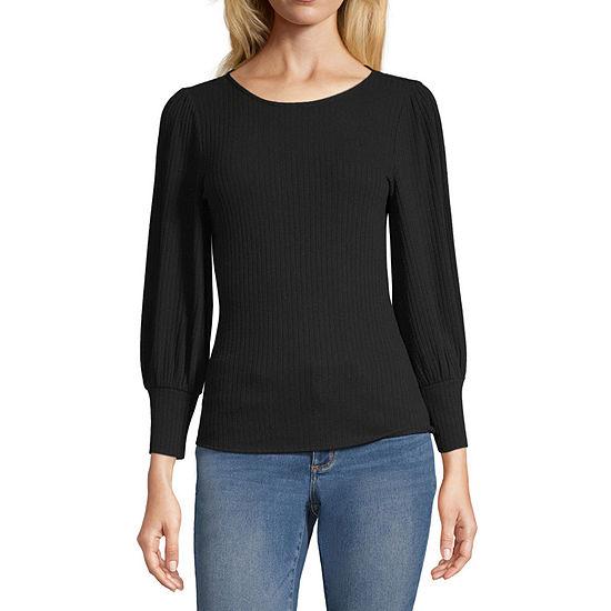 a.n.a-Womens Round Neck 3/4 Sleeve T-Shirt