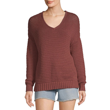 a.n.a Womens V Neck Long Sleeve Pullover Sweater, Medium , Red