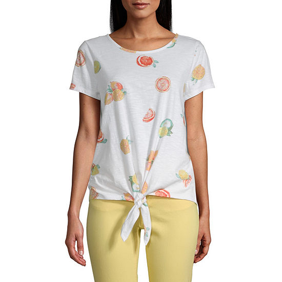 St. John's Bay-Womens Round Neck Short Sleeve Tie Waist Tee