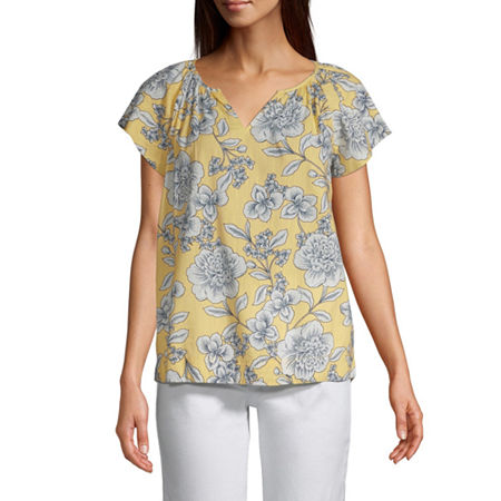 St. John's Bay Womens Split Neck Flutter Sleeve Blouse, Petite X-small , Yellow